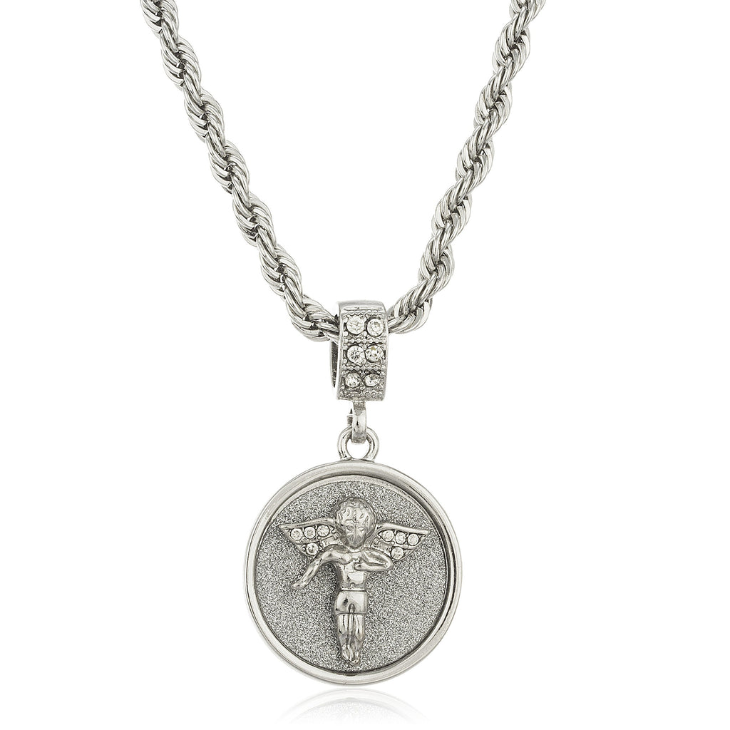 Silvertone Sandblast Angel Micro Pendant With...