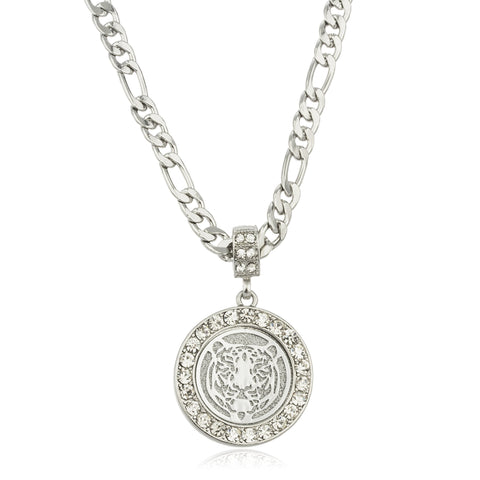 Silvertone Sandblast Tiger Micro Pendant With Stones And A 24 Inch Figaro Necklace