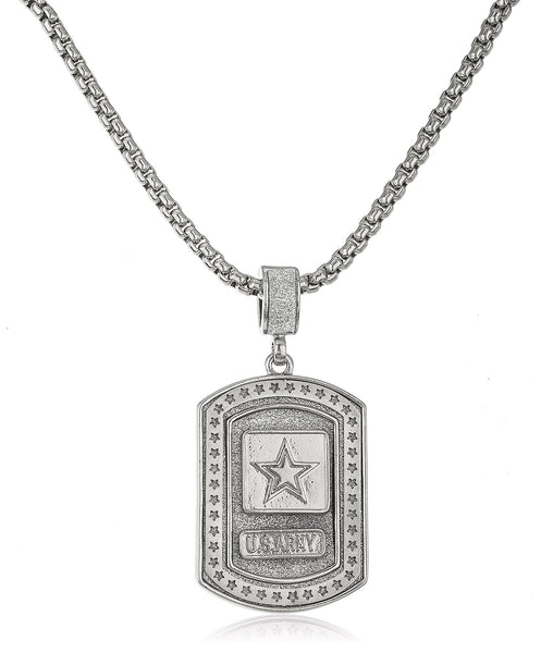 "Silvertone Sandblasted ""U.S. Army"" Star Micro Pendant With A 24 Inch Box Chain"