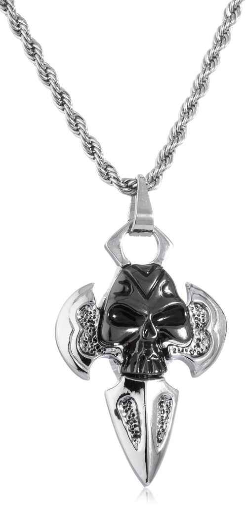 Silvertone Skull Cross Pendant With A...