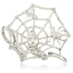 Silvertone Spider Web Designer Four Finger Stretch Knuckle Ring With Stones