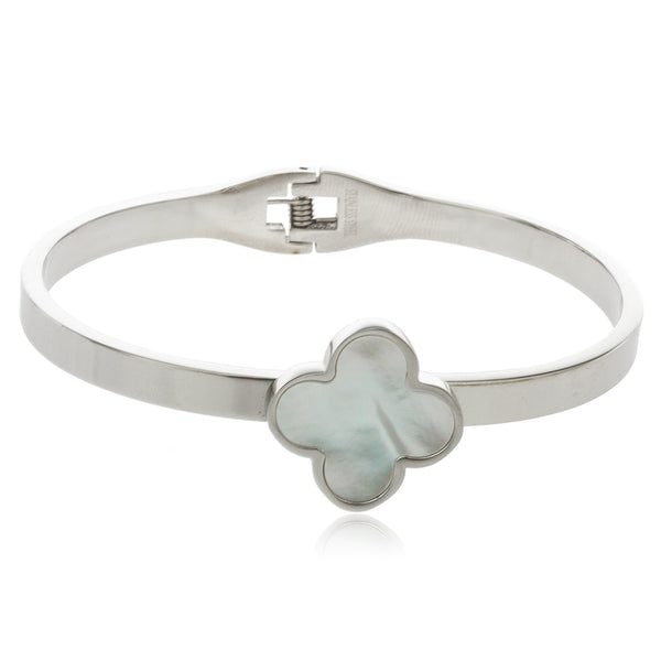 Silvertone Stainless Steel Clover Bangle Bracelet With Close Clasp