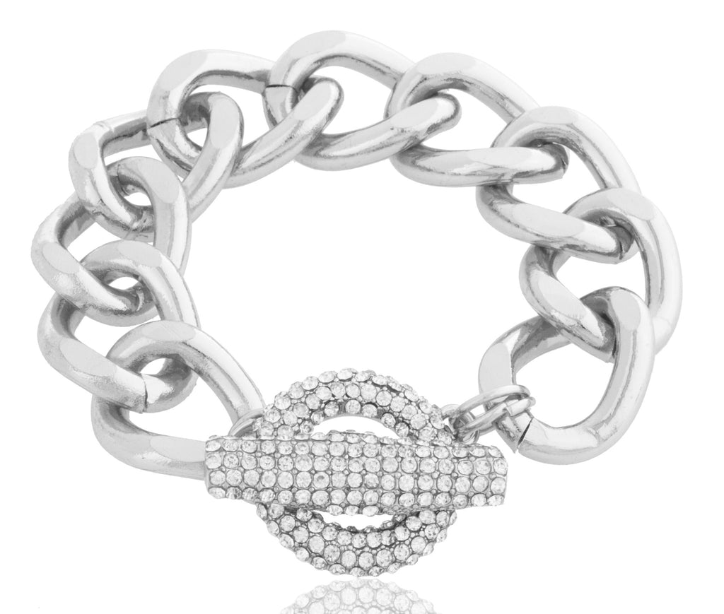 Silvertone Thick Link Toggle Bracelet With...