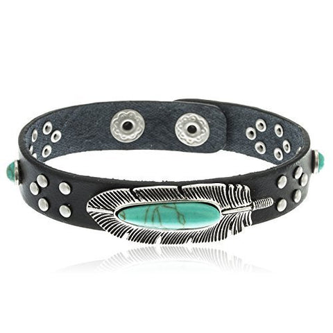 Silvertone Turquoise Feather Black Studded 7 Inch Snap Bracelet
