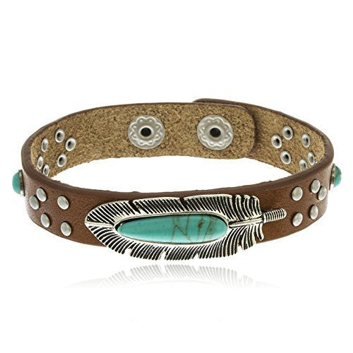 Silvertone Turquoise Feather Brown Studded 7 Inch Snap Bracelet