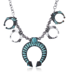 Silvertone Turquoise Multi Dangling Horseshoe Chain Necklace
