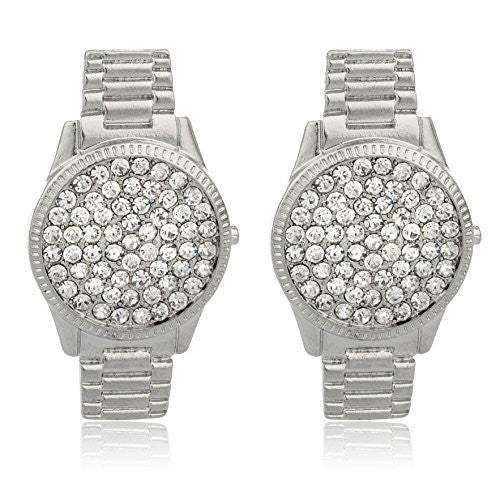 Silvertone Watch Design Earrings With Stones