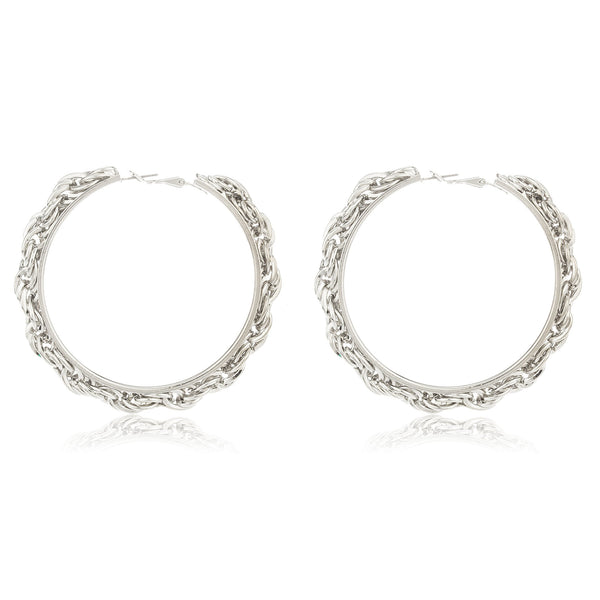 Silvertone Wheat Chain Design 2.5 Inch Hoop Earrings