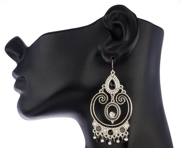 Silvertone With Black 2.75 Inch Design Circle Stud Earrings With Dangling Beads