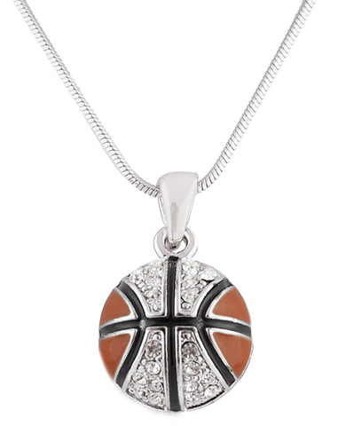 Silvertone With Black And Orange Iced Out Basketball Pendant With An 18 Inch Snake Franco Chain Necklace
