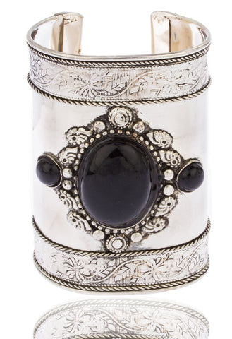 Silvertone With Black Antique Design 3.75 Inch Adjustable Cuff Bangle