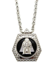 Silvertone With Black Egyptian Pharaoh Pendant With An 18 Inch Rolo Chain Necklace
