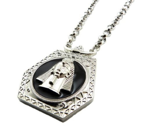 Silvertone With Black Egyptian Pharaoh Pendant...