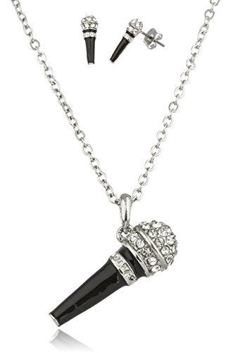 Silvertone With Black Microphone Pendant With Stones And An 18 Inch Link Necklace And Matching Earrings Jewelry Set
