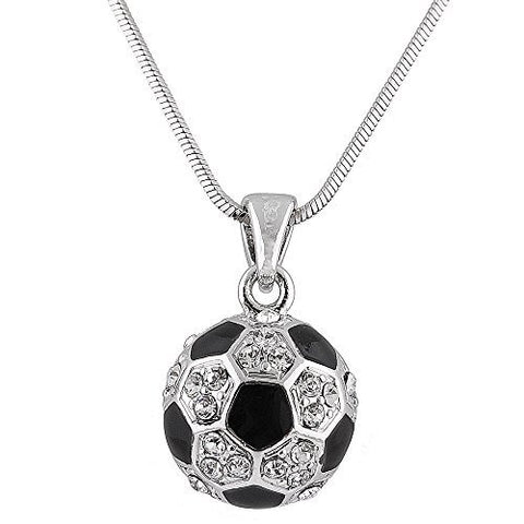 Silvertone With Black & White Iced Out Soccer Ball Pendant With An 18 Inch Snake Necklace
