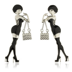 Silvertone With Black Women Posing Stud Earrings With Dangling Handbag Charm