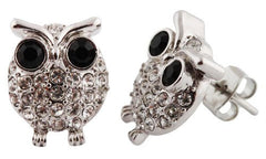 Silvertone With Clear And Black Iced Out Mini Owl Stud Earrings