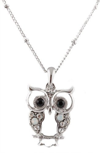 Silvertone With Clear And Black Iced Out Vintage Owl Pendant With A 17 Inch Adjustable Link Necklace