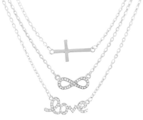 Silvertone With Clear Iced Out Cross, Infinity And Love Pendant Three Adjustable Link Chain Necklace