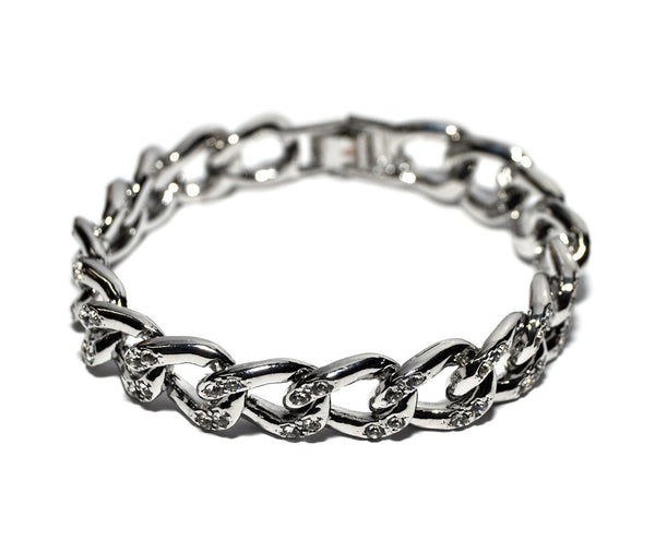 Silvertone With Clear Iced Out Link Chain 10mm 7.5 Inch Clip Bracelet