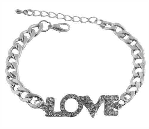Silvertone With Clear Iced Out Love Print Adjustable Cuban Chain Link Bracelet