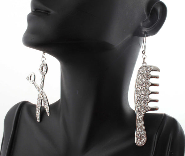 Silvertone With Clear Iced Out Scissor And Comb Dangle Earrings