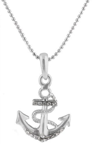 Silvertone With Clear Iced Out Wrapped Anchor Style Pendant With An 18 Inch Beaded Ball Necklace