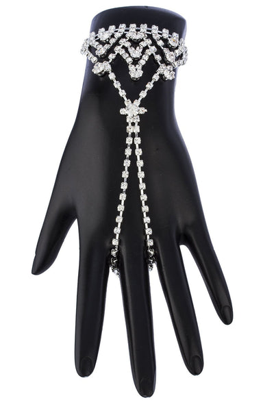 Silvertone With Clear Rhinestones Triangle Style Adjustable Finger Ring And Hand Chain Bracelet