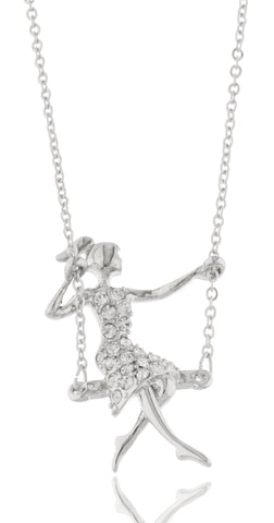 Silvertone With Clear Stones Cartoon Girl On A Swing Pendant 17 Inch Adjustable Link Necklace