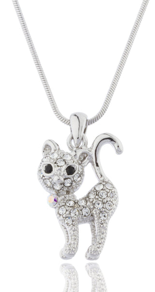 Silvertone With Clear Stones Cat Pendant 16 Inch Snake Franco Necklace