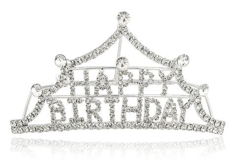 Silvertone With Clear Stones Happy Birthday Tiara Comb Design Hair Piece