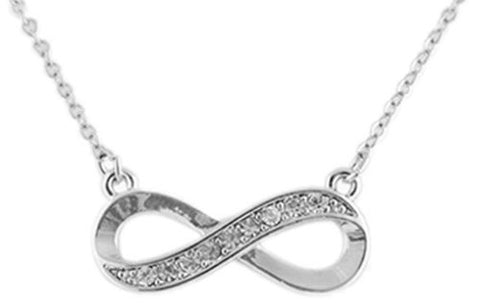 Silvertone With Clear Stones Infinity Pendant With An 18 Inch Link Necklace