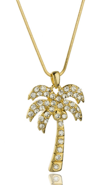Silvertone With Clear Stones Palm Tree Style 16 Inch Snake Franco Chain Necklace (Goldtone)