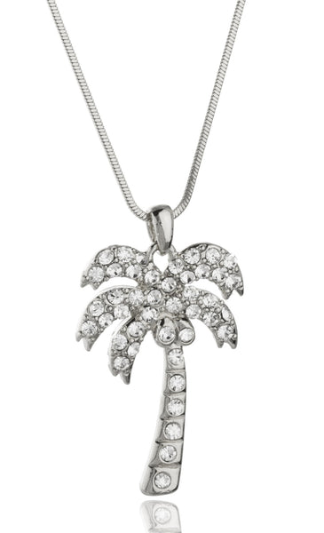 Silvertone With Clear Stones Palm Tree Style 16 Inch Snake Franco Chain Necklace (Silvertone)