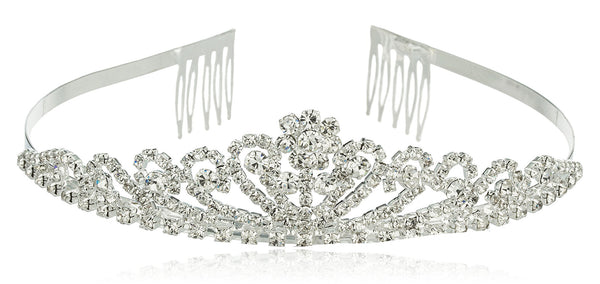 Silvertone With Clear Stones Princess Crown Style Flower Design Tiara Hair Piece
