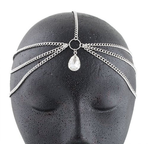 Silvertone With Clear Tear Drop Shaped Multifaceted Center Stone Head Chain