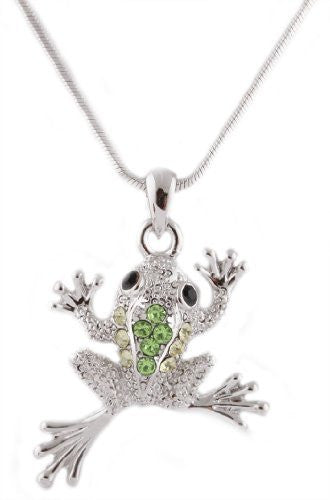 Silvertone With Green Iced Out Frog Pendant With An 18 Inch Snake Franco Chain Necklace
