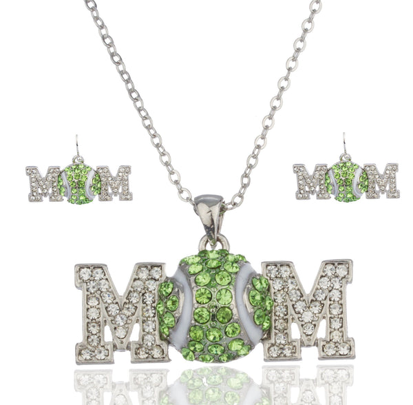Silvertone With Green Tennis Mom Pendant With An 18 Inch Link Necklace And Earrings Jewelry Set