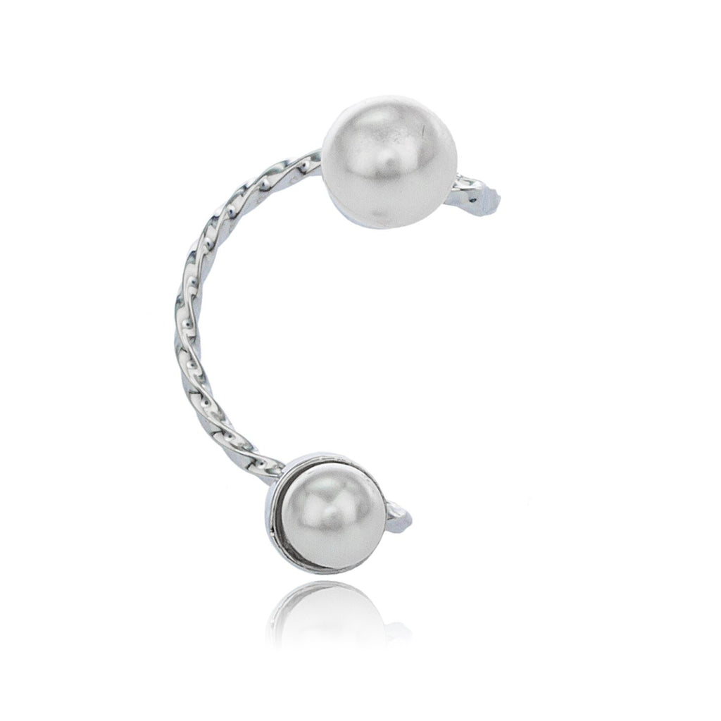 Silvertone With Ivory Round Simulated Pearl...