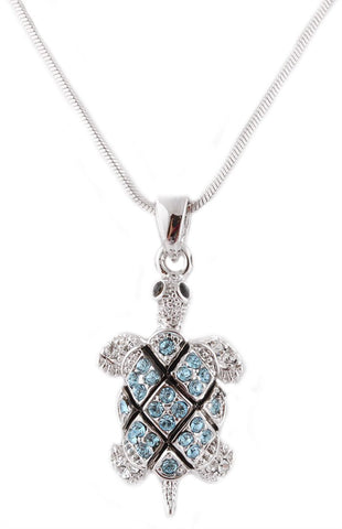 Silvertone With Light Blue Iced Out Turtle Pendant With An 18 Inch Snake Franco Chain Necklace