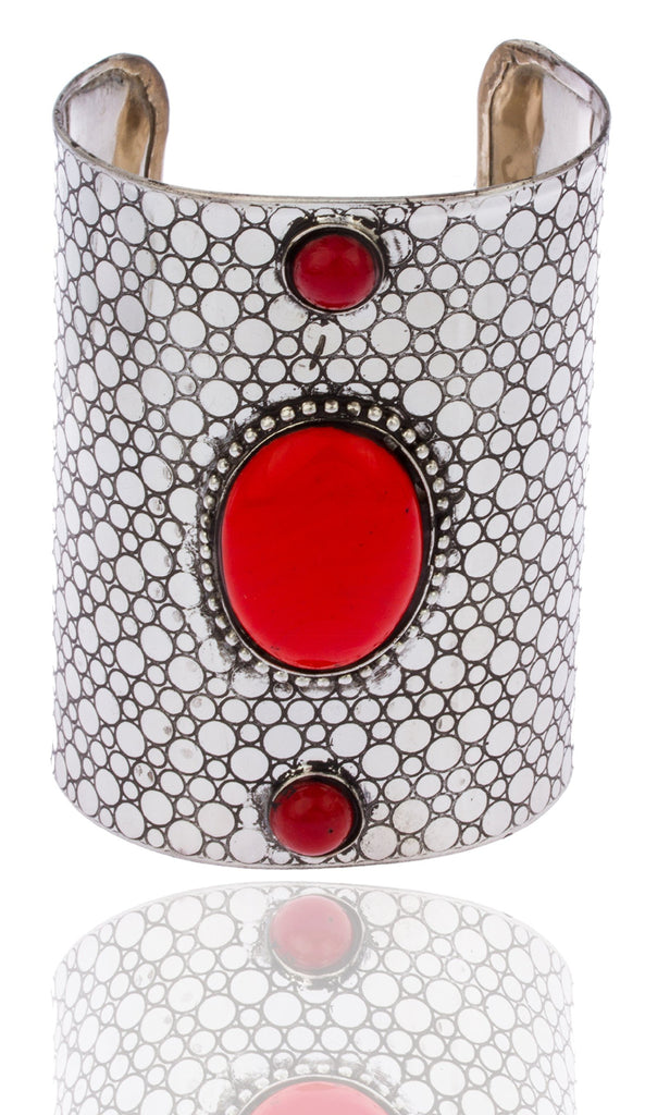 Silvertone With Red Antique Hammered Design...