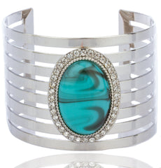 Silvertone With Turquoise And Centered Stones Bar Design Cuff Bangle Bracelet