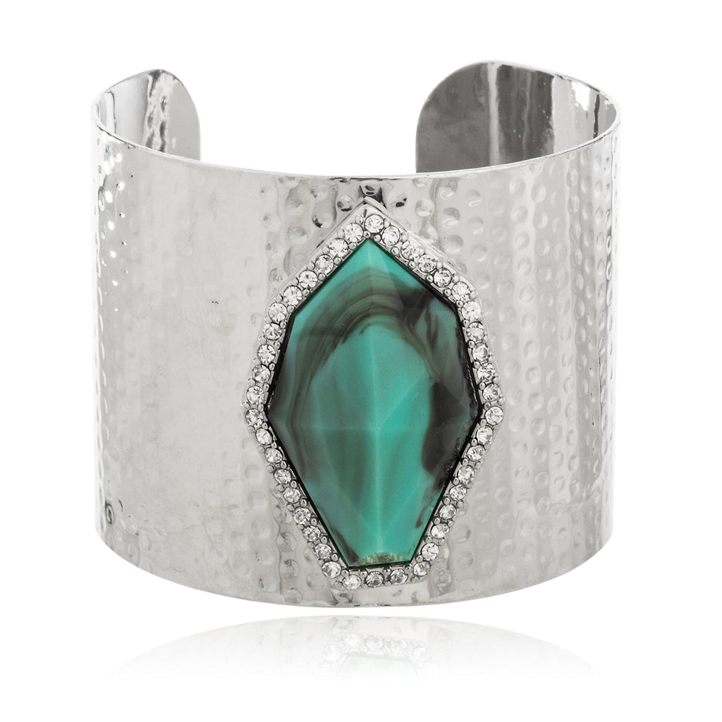 Silvertone With Turquoise And Centered Stones...