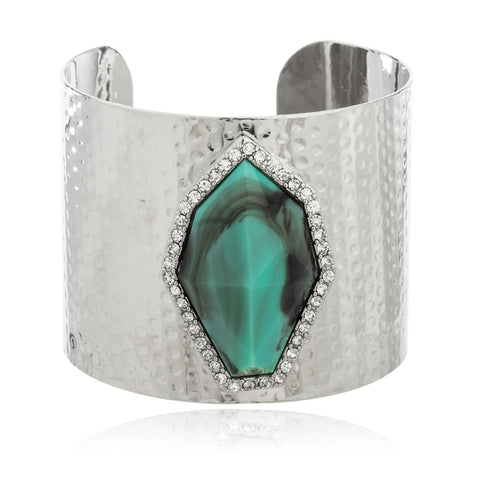 Silvertone With Turquoise And Centered Stones Dented Design Cuff Bangle Bracelet