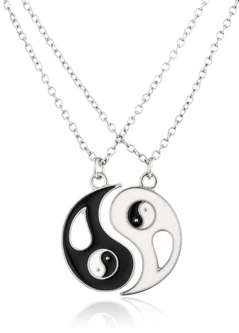 Silvertone Yin Yang 2 Piece Friendship Necklace
