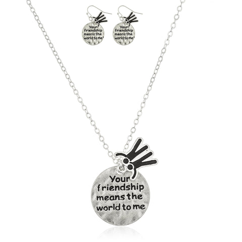 "Silvertone ""Your Friendship Means The World To Me"" Pendant 18 Inch Necklace And Matching Earrings Jewelry Set"