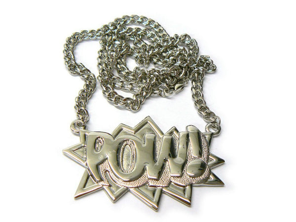 Silvertone Zinc Pow! Pendant With A 36 Inch Link Chain Necklace