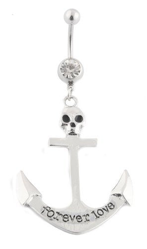 Forever Love with Skull Anchor Belly Navel Ring