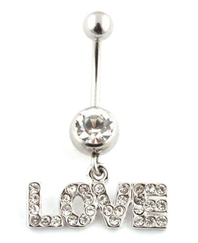 Iced Out Love with Clear Stone Belly Ring
