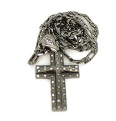 Small Black Iced Out 3D Cross Pendant With A 24 Inch Necklace Chain Good Quality